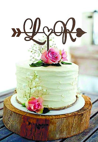 Delia32agnes Wedding Cake Topper L Initials Cake Topper R Rustic Wedding Cake Topper Arrow Cake Topper Wood Arrow Heart Cake Toppers Ilver Monogram