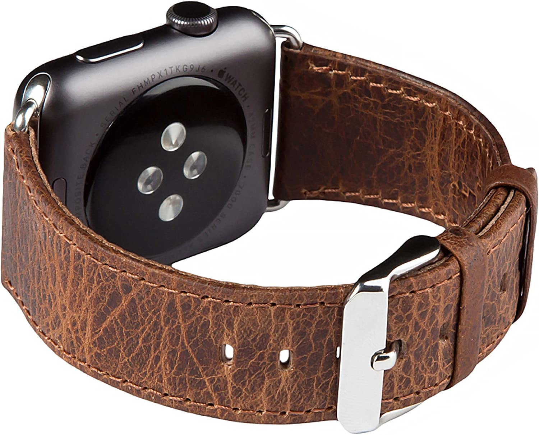 FUTLEX Banda para la muñeca de Cuero Heritage auténtico, Repuesto de Correa con Broche para Apple Watch 44mm 42mm - Café - Adaptadores Incluidos