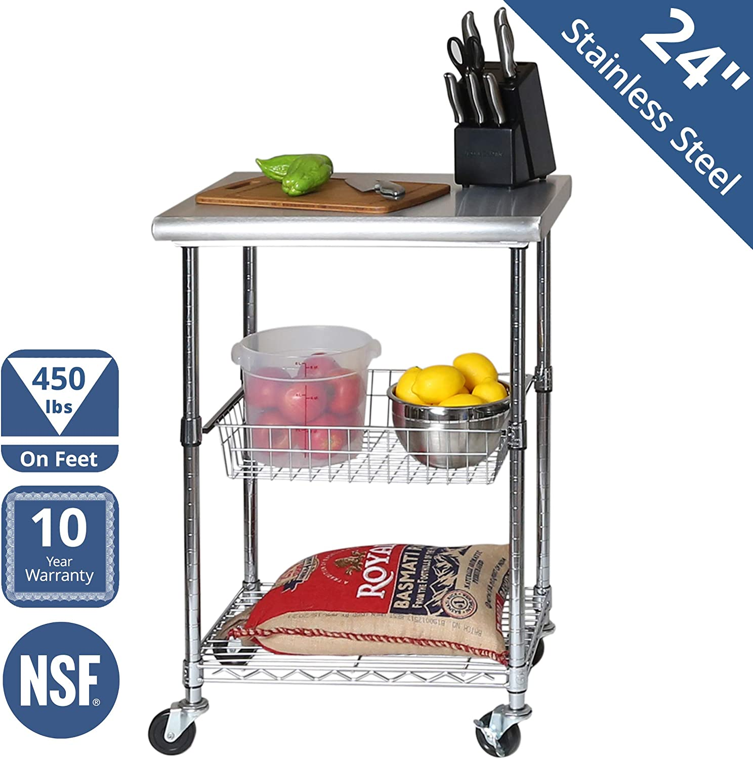 show original title load Details about  /Stainless Steel Table Trolley with 2 Shelves 650 x 440 x 900 MM C3 200 KG