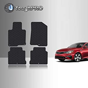 TOUGHPRO Floor Mat Accessories Set (Front Row + 2nd Row) Compatible with Kia Optima - All Weather - Heavy Duty - (Made in USA) - Black Rubber - 2016, 2017, 2018, 2019, 2020