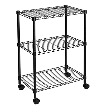SONGMICS 3 Tier Shelving Unit Microwave Cart Rolling Storage Rack Black  ULSS03P