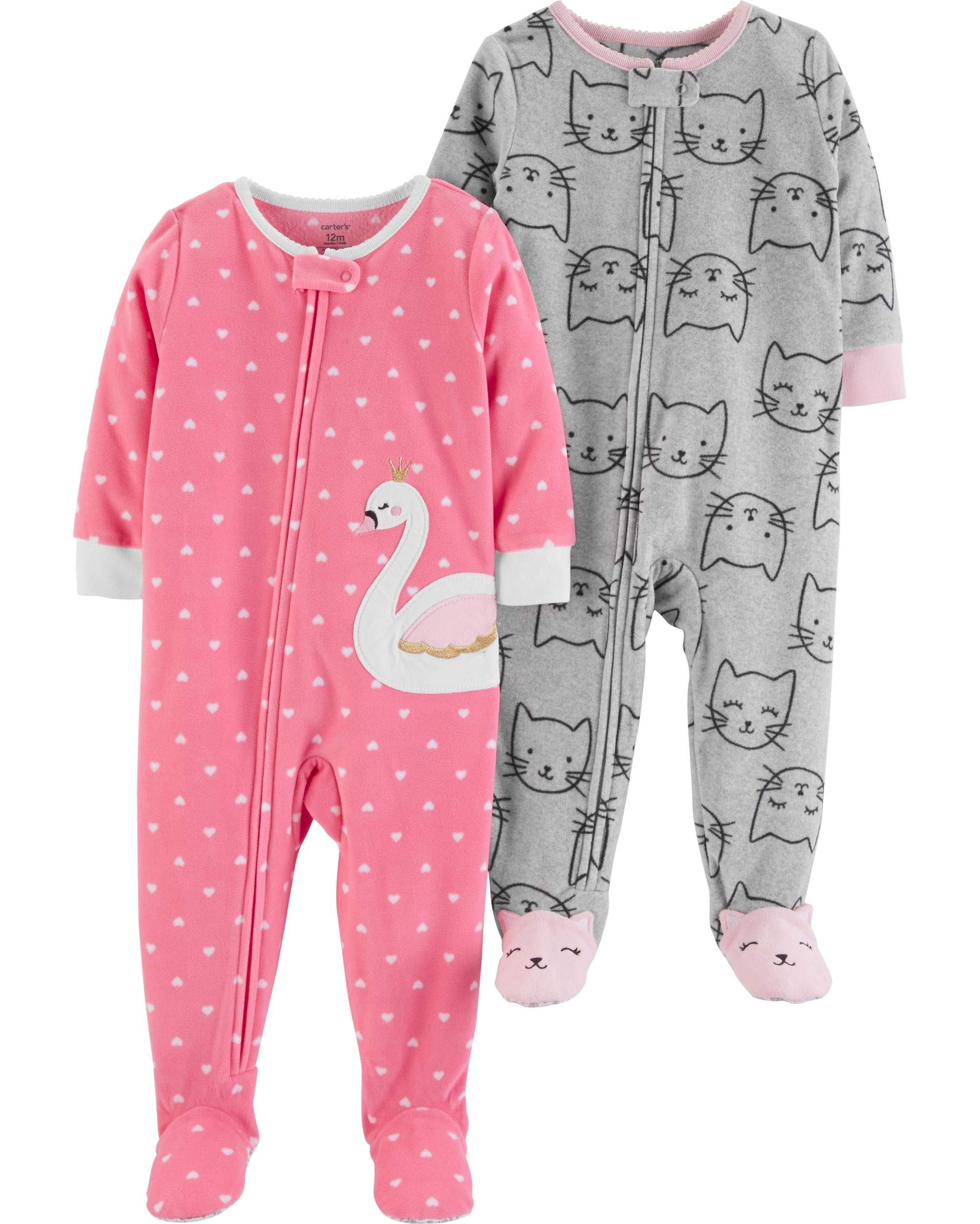Carter's Baby Girls' 2-Pack Fleece Footed Pajamas (12 Months, Swan/Kitty) by Carter's