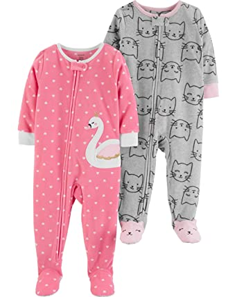 cfd86ee5c Amazon.com: Carter's Baby Girls' 2-Pack Fleece Footed Pajamas: Clothing