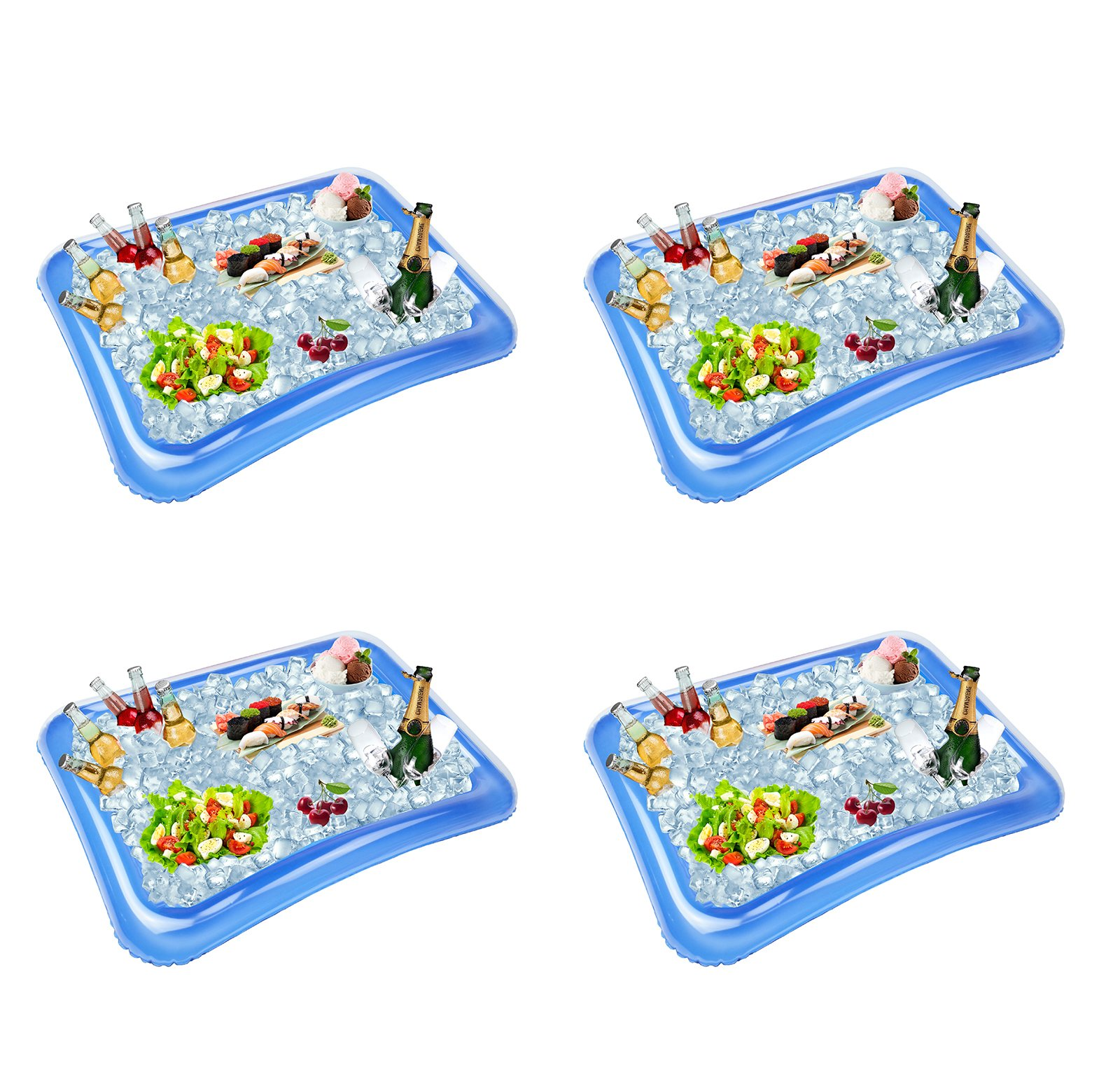 Festar 4-Pack Inflatable Ice Serving Bar Coolers for Parties, Salad BBQ Picnic Ice Food Drinks Buffet Server Tray for Indoor Outdoor Party