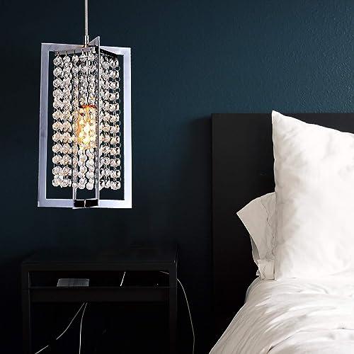 PAPAYA Chrome Square Iron Mini Modern Crystal Pendant Light Fixtures 1-Light Chandelier