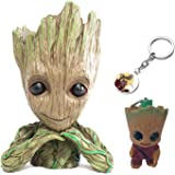 3 Pack Groot Flowerpot Cartoon Baby Action Figures Guardians of The Galaxy Green Plants Flower Pot with Hole Pen Holder With Groot Baby Keychain Pendant Best Gifts For Kids