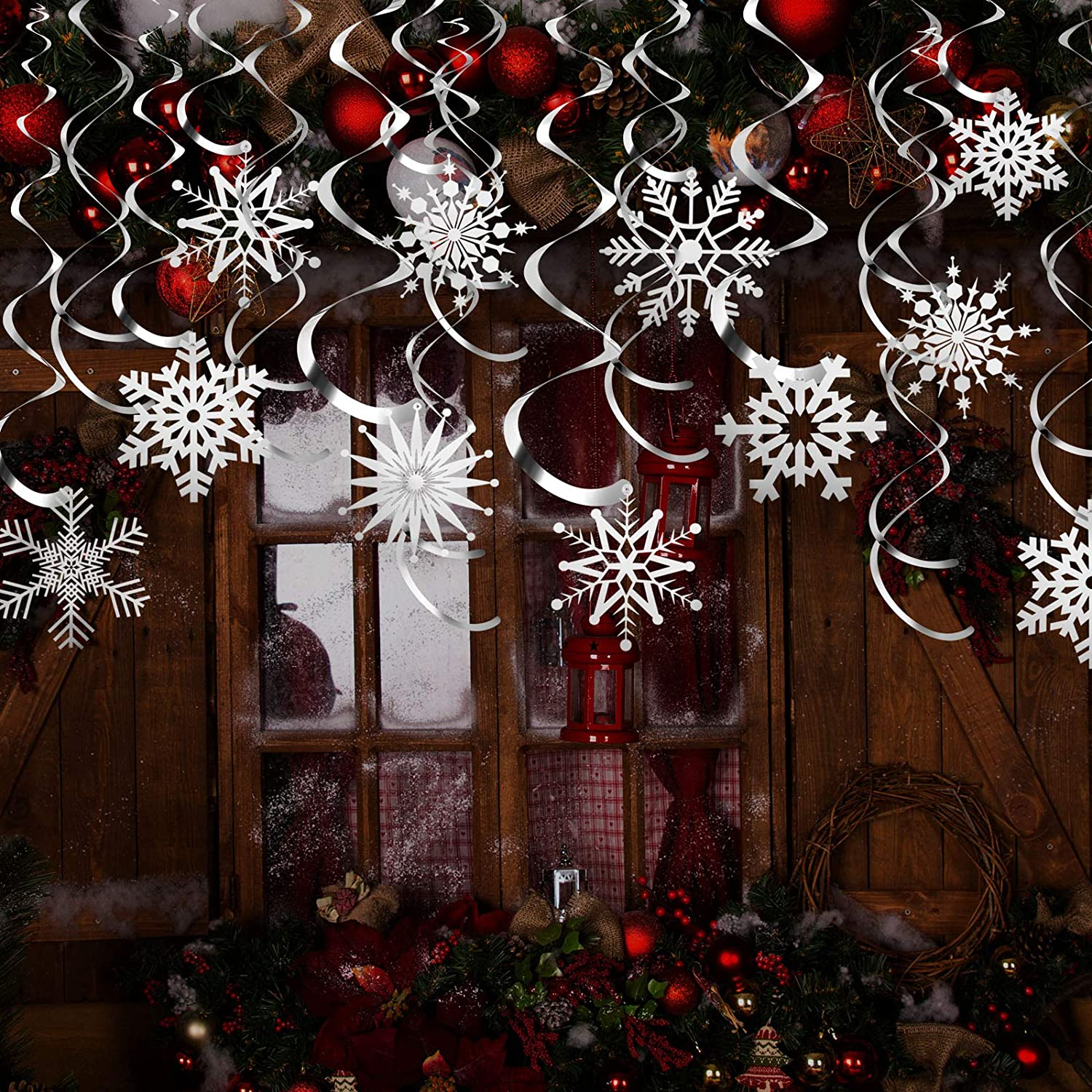 Tatuo 44 Pieces Snowflake Swirls Decoration, Christmas Snowflake Hanging Swirls Garland Foil Ceiling Ornaments for Xmas Winter Holiday Party Decor Supplies