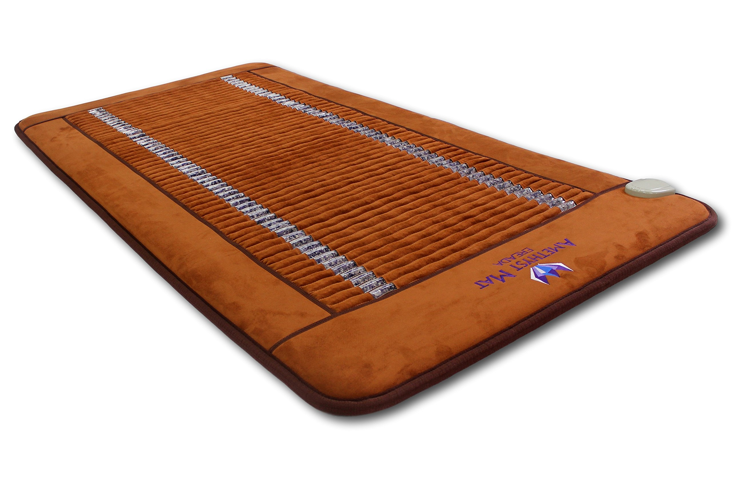 """Far Infrared Amethyst Mat Single Size 75''L x 39""""W - Made in Korea - Deep Penetration FIR Heat - Ion Therapy - Jewelry Grade Natural Amethyst - FDA Registered Manufacturer- XL Heating Pad with Crystals"""