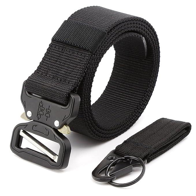 MINHER Hombres Cobra Metal Hebilla Cinturón De Nilón Y Rápido Quitar Llavero Correa Táctica CQB Rigger Cinturón
