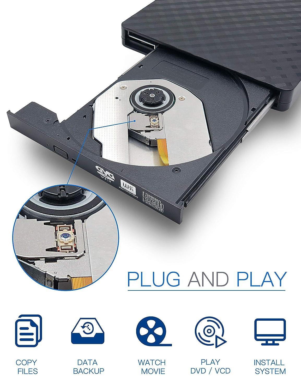 ... +/-RW Drive Slim CD/DVD ROM Rewriter Burner Superdrive High Speed Data Transfer for Laptop Desktop PC Windows 7/8.1/10 Linux OS: Computers & Accessories