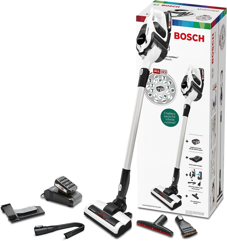 Bosch Unlimited Serie 8 BBS1U224 Aspirador escoba sin cable, hasta 60 minutos de duración, incluye 2 baterías extraíbles, color blanco: Amazon.es: Hogar