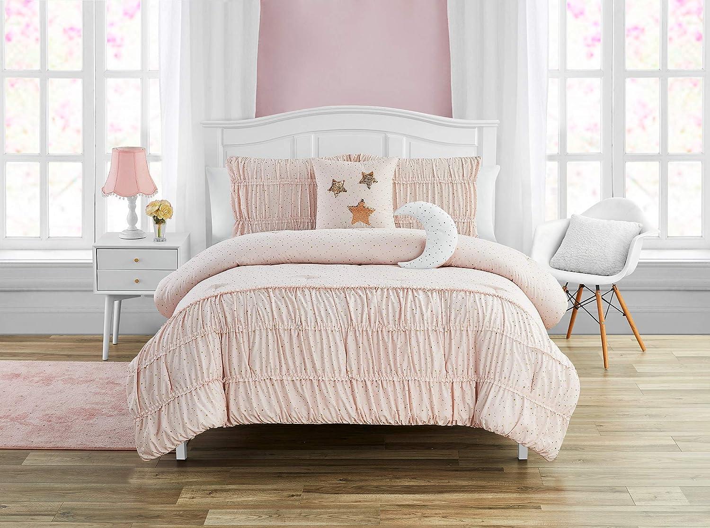 Madison Parker Celestial Princess 5-Piece Comforter Set Metallic Foil, Smocked, Girls Bedding, Pink, Twin