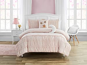 Madison Parker Celestial Princess 5-Piece Comforter Set Metallic Foil, Smocked, Girls Bedding, Pink, Full,