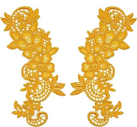 2 pieces off white col Embroidered guipure lace 3D applique patch trim