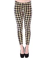 Simplicity Women's Fashion Worm Stretch Leggings w/ Houndstooth & Velvet Print