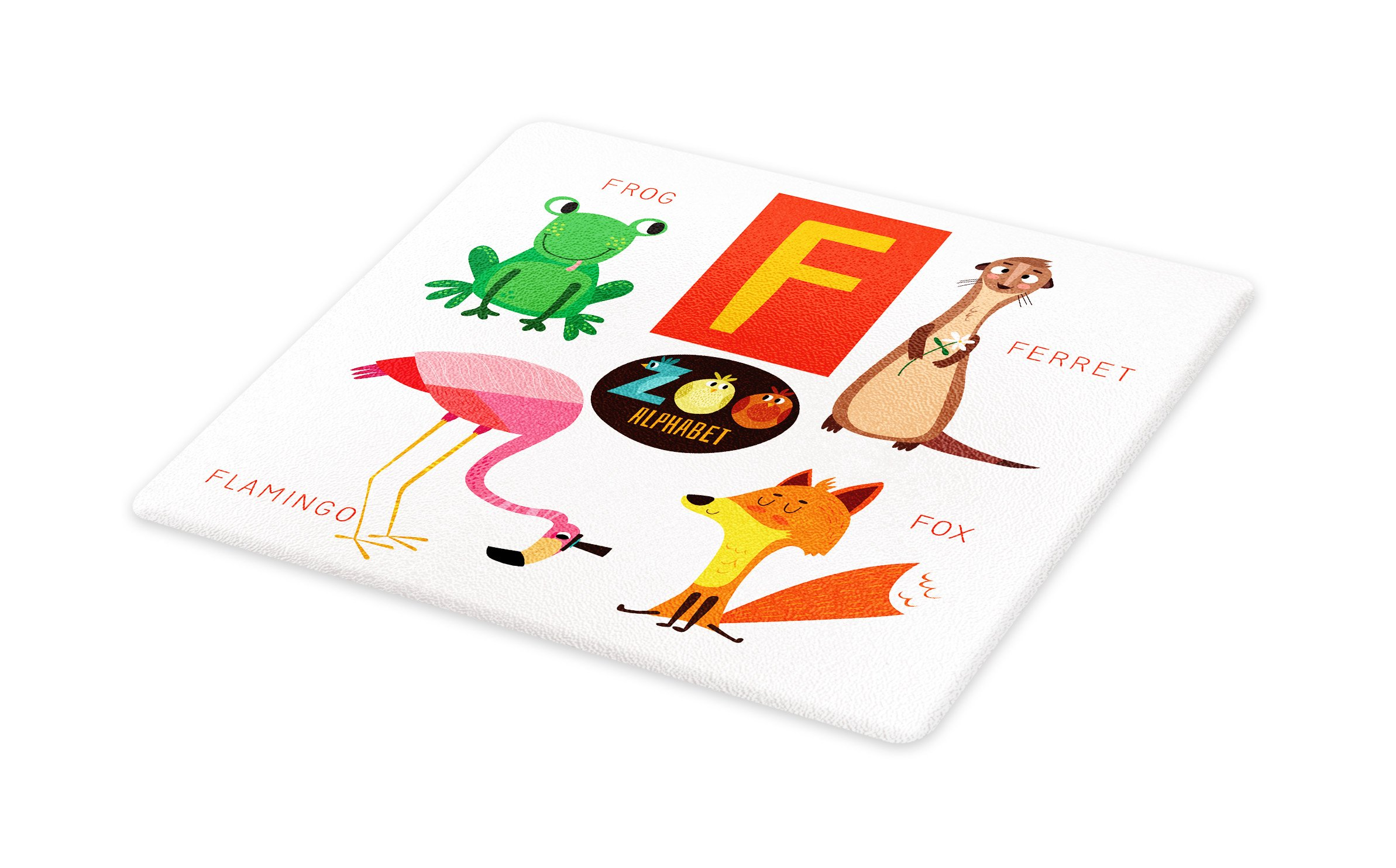 Lunarable ABC Kids Cutting Board, Primary School Students Learn ABC Artwork for F Font with Flamingo Fox Frog Ferret, Decorative Tempered Glass Cutting and Serving Board, Large Size, Multicolor