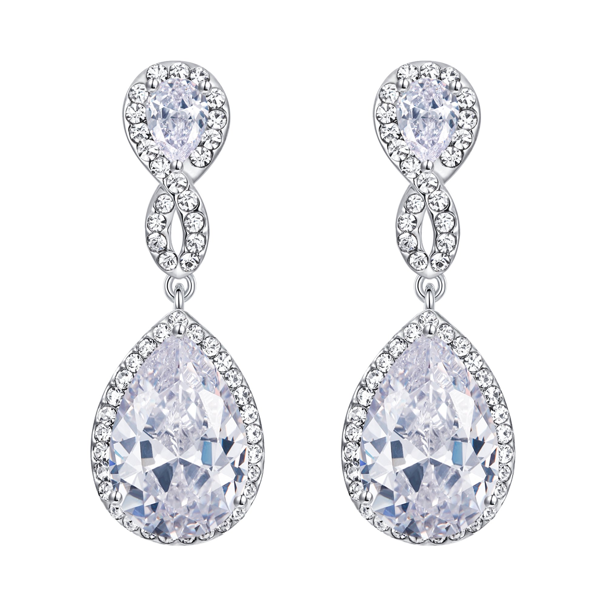EVER FAITH Zircon Austrian Crystal Wedding 8-Shape Clip-on Dangle Earrings Clear Silver-Tone