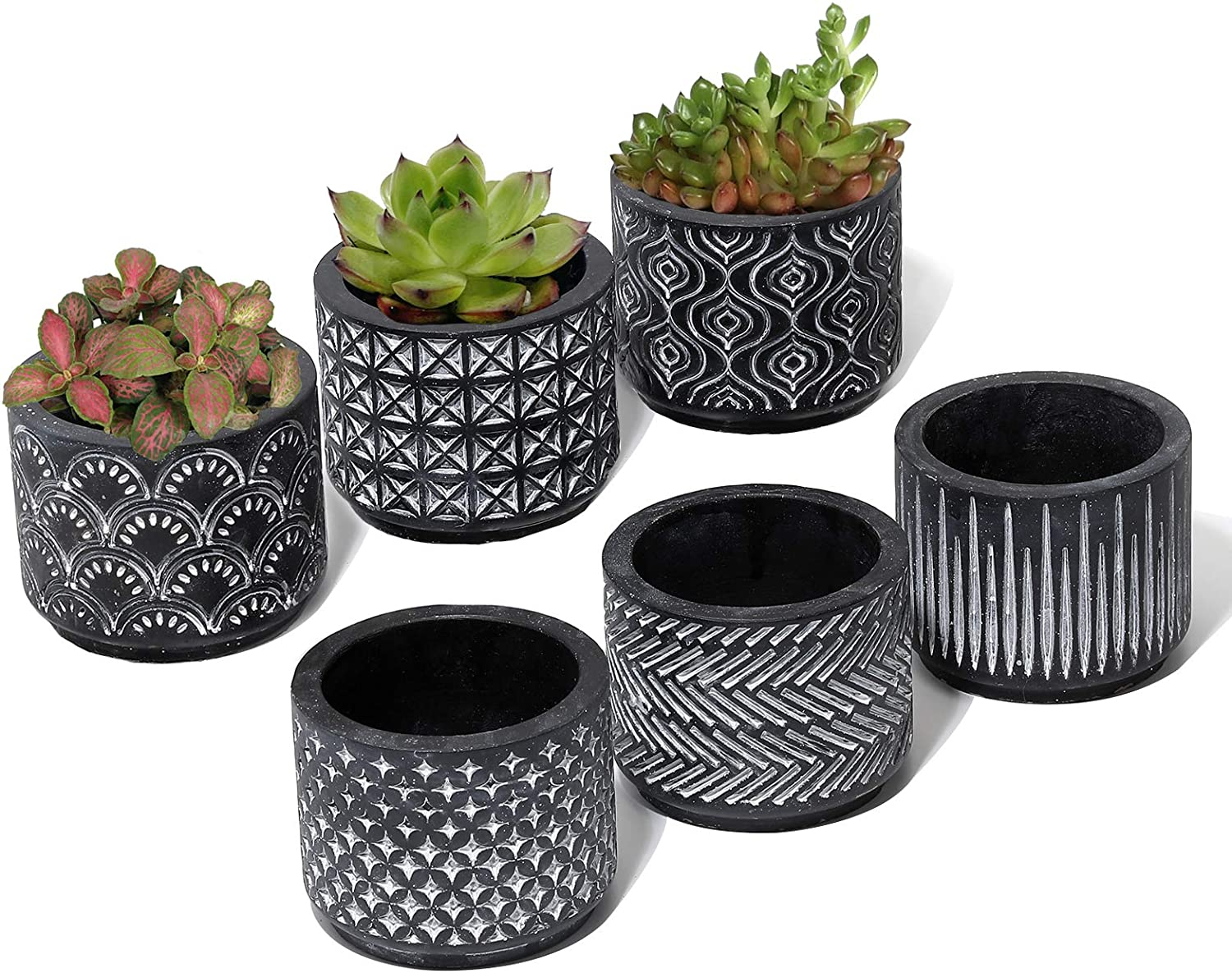 2.7 Inch Cement Succulent Plant Pots - Set of 6 Mini Cactus Planter Indoor with Drainage Hole, Small Black Round Concrete Planter Garden Container for Herbs, Shelf, Windowswill. Plants Not Included