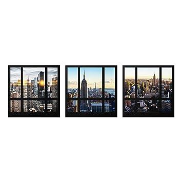 Pps Imaging Glasbild Mehrteilig Fensterblicke Uber New York 3