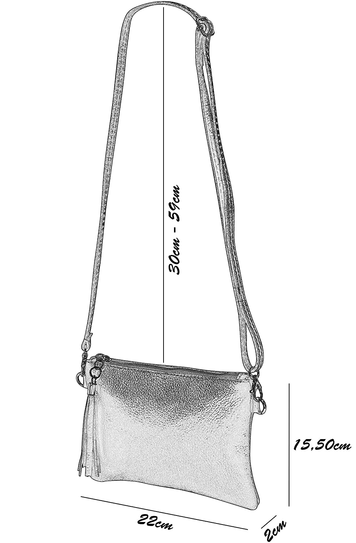 SH läder äkta läder axelväska clutch liten väska aftonväska 22 x 15 cm Anny G248 Ljusgrå
