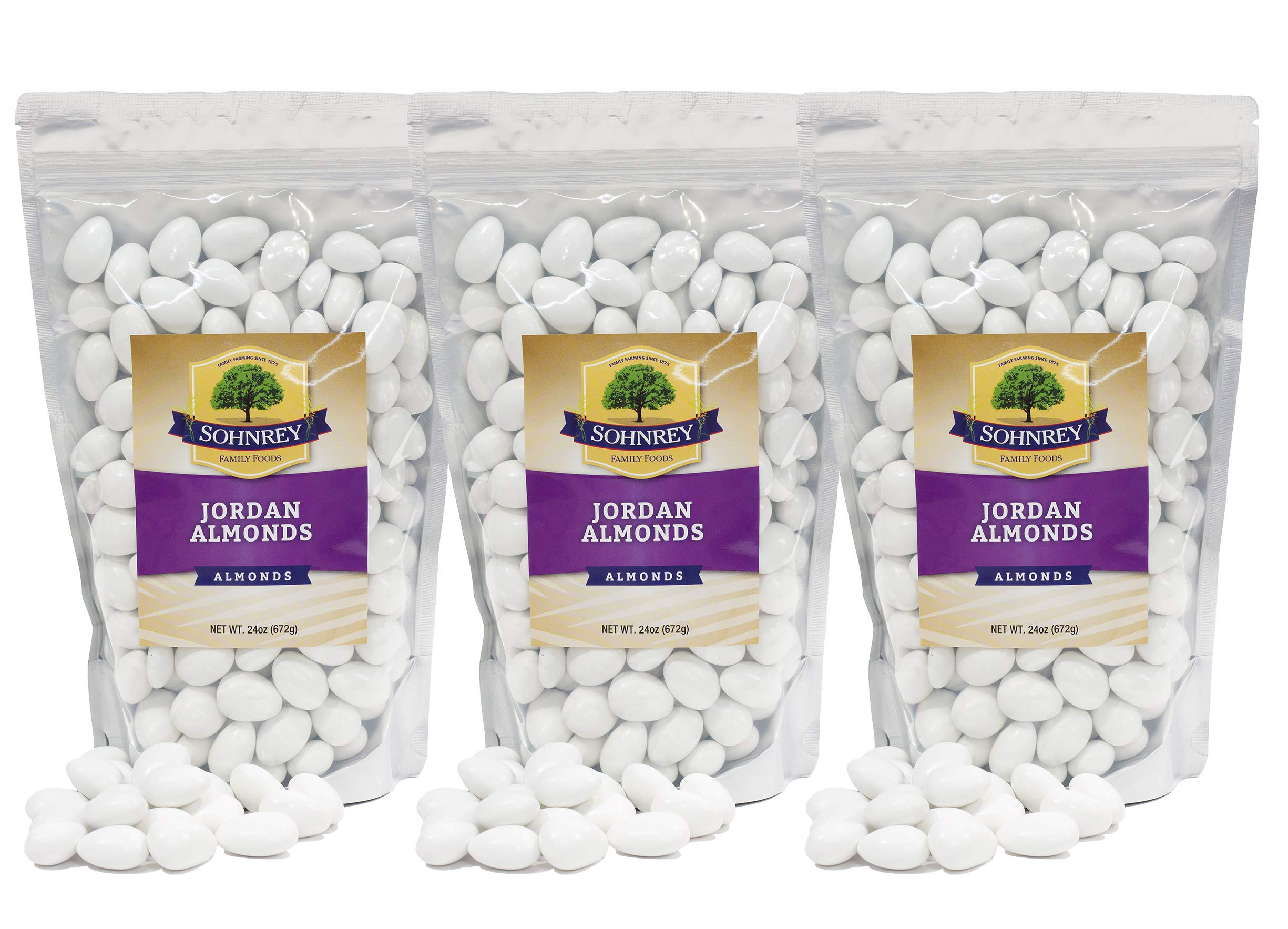 Jordan Almonds Wedding Shower Party Favor Premium White Candied Nuts (3-Pack (4.5 lbs)) by Sohnrey Family Foods