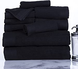 Lavish Home Ribbed 100% Cotton 10 Piece Towel Set - Black