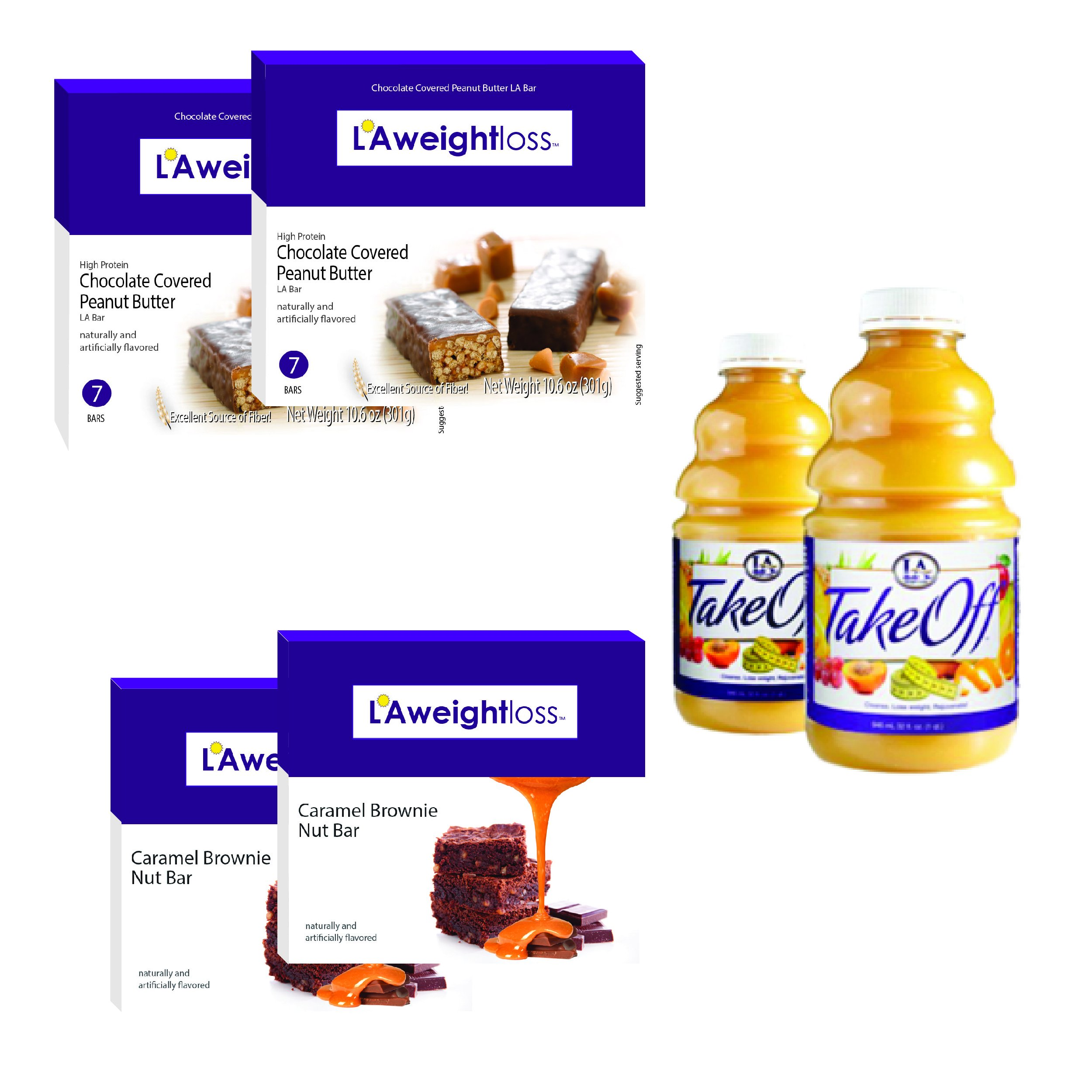 LA Weight Loss Combo - LA Bars & TakeOff Cleanse (PB & Caramel Brownie) by L A Weight Loss & Wellness (Image #1)