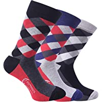 FootPrints Organic Cotton Bamboo Men's Formal Socks Pack of 3 Pairs - 3 Designer 2 colour Pattern