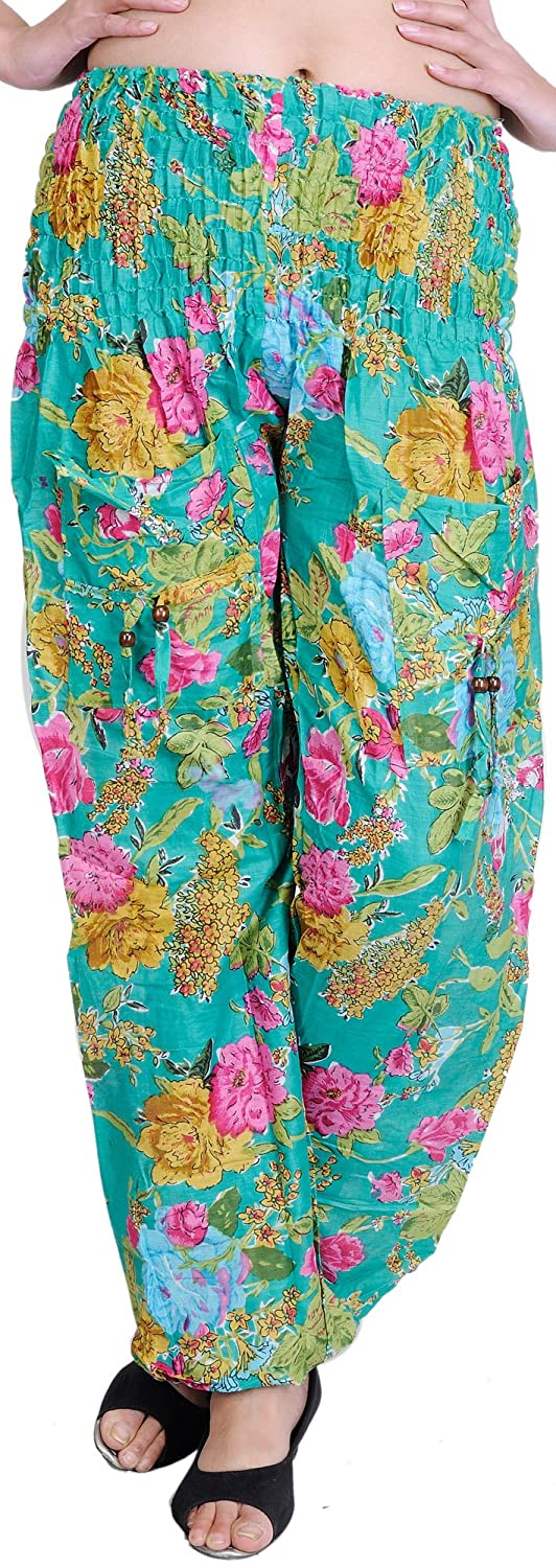 Exotic India Marine-Green Casual Trousers With Printed Flowers