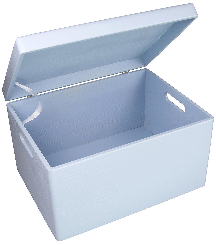 Lust feuillus–Baby Boîte en bois pour la naissance en pin Taille XL–Laqué Bleu env. 40x 30x 24cm–Bois massif certifié FSC Grinscard