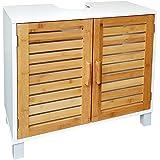 osoltus Waschtisch Unterschrank Badschrank Waschbeckenschrank Nordic I Bambus Holz Braun I Korpus MDF weiß lackiert
