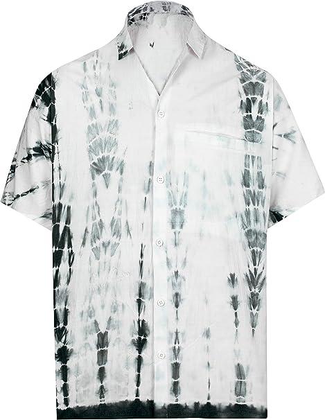 La Leela Cotton Men/'S Beach Fish Hawaiian Shirt Collar Button Down Short Sleeve