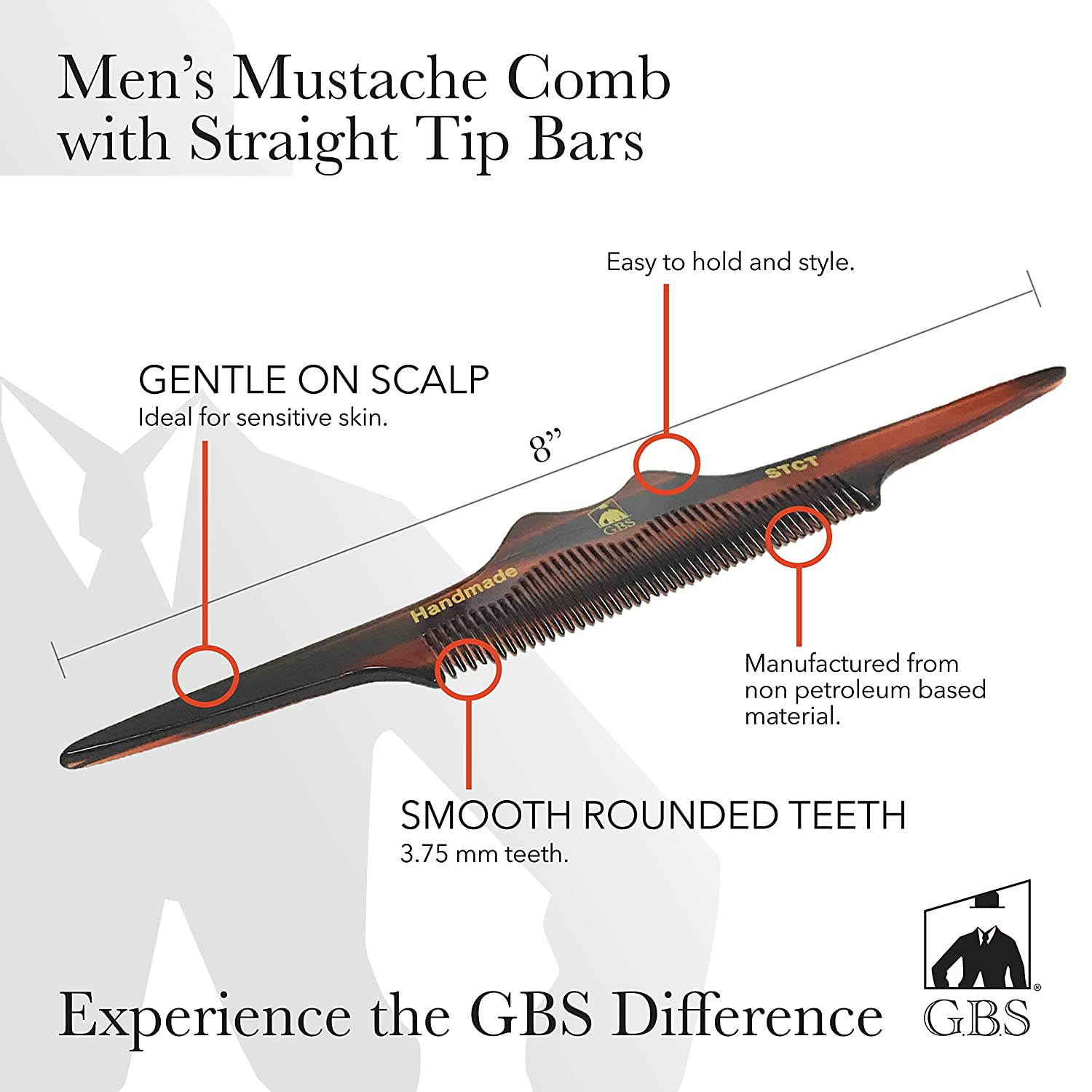 Mens Mustache Comb with Straight Tip Bars - Easy to Hold and Style GBS