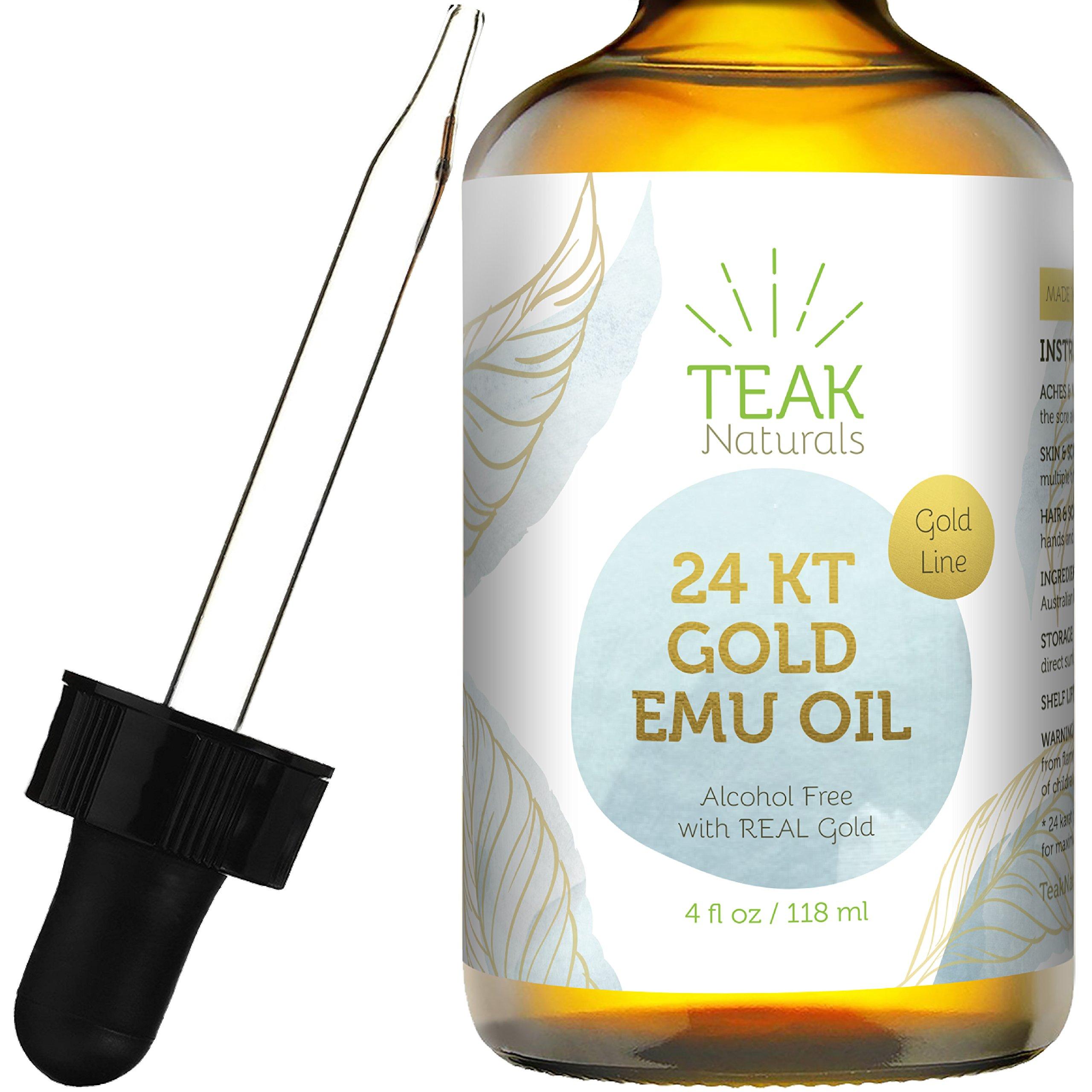 24K GOLD Emu Oil by Teak Naturals, 24 K Gold Organic Australian Emu Oil 4 oz Gold Line Series by Teak Naturals