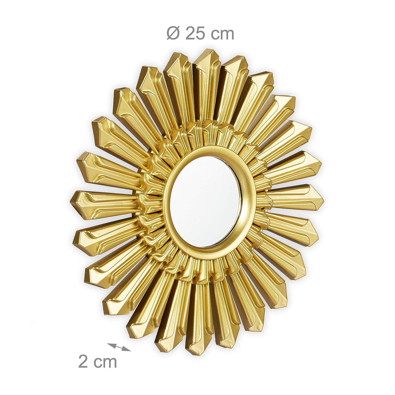 Relaxdays Dekospiegel Sonne runde H/ängespiegel 25 x 25 x 2 cm Kunststoff Rahmen Wanddeko mit Aufh/ängung /Ø 25 cm 3er Set Gold
