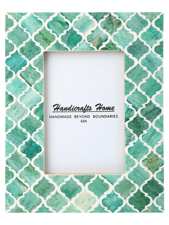 Handicrafts Home フォトフレーム ムーア風モロッコ柄 ハンドメイド ナチュラル ボーンフレーム 4x6及び5x7インチ 4x6 グリーン B01M2YFIB6 4x6|グリーン グリーン 4x6