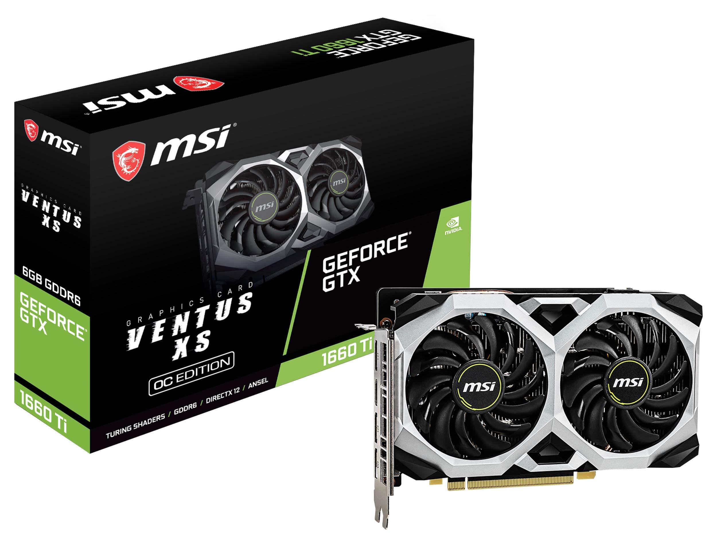 MSI Gaming GeForce GTX 1660 Ti 192-bit HDMI/DP 6GB GDRR6 HDCP Support DirectX 12 Dual Fan VR Ready OC Graphics Card (GTX 1660 TI Ventus XS 6G OC) by MSI (Image #1)