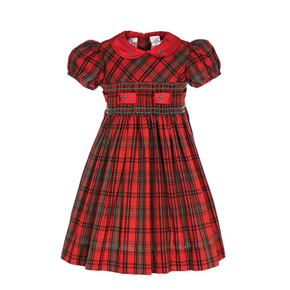 1940s Children's Clothing: Girls, Boys, Baby, Toddler Carriage Boutique Girls Holiday Red Plaid Short Sleeve Dress $62.00 AT vintagedancer.com