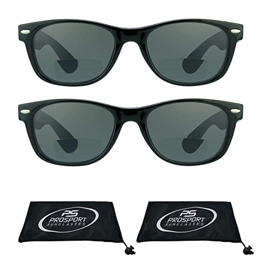 601c2a01b6 proSPORT Retro Classic Bifocal Sunglasses with 80 s fashion Style for Men  and Women. Smoke