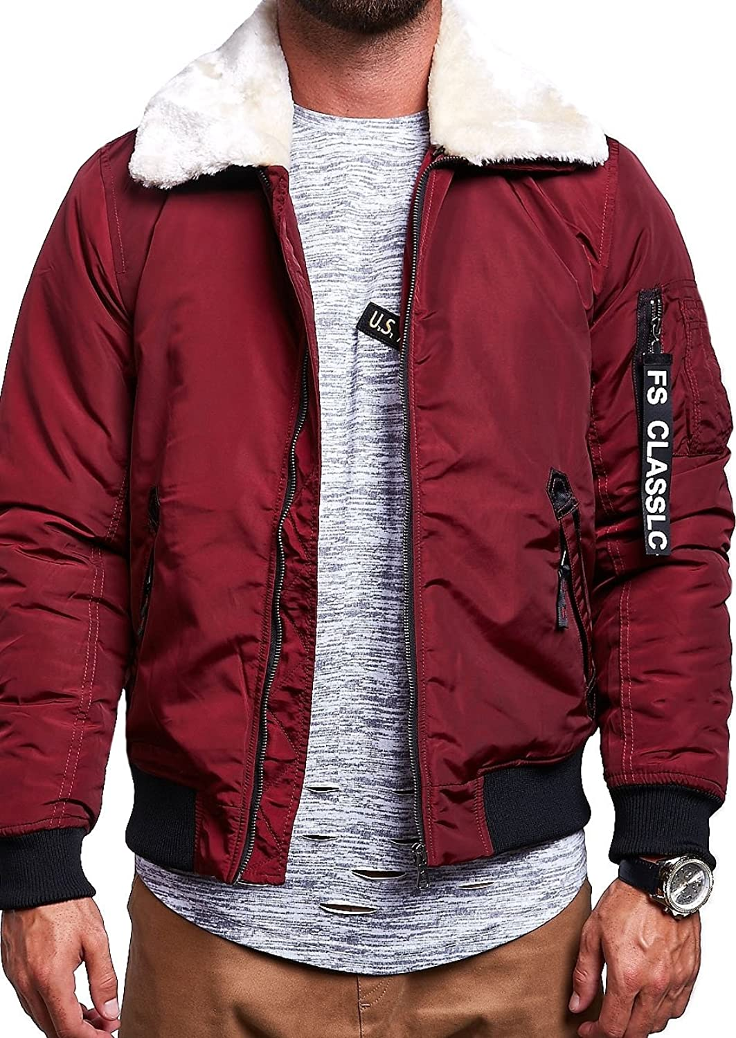 MT Styles Men's Bomber Jacket M-1009