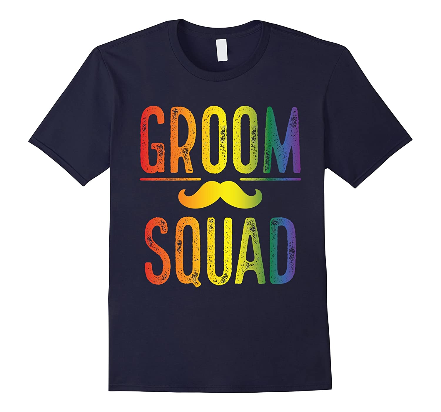 Mens Bachelor Party Shirt Gay Pride Groom Squad Moustache-Vaci