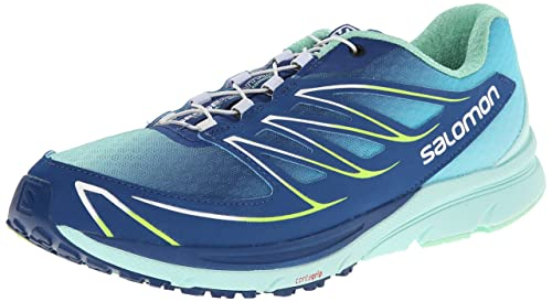 Salomon Women's Sense Mantra 3 Running Shoe, Gentiane/Igloo Blue/Firefly Green, 7.5 M US