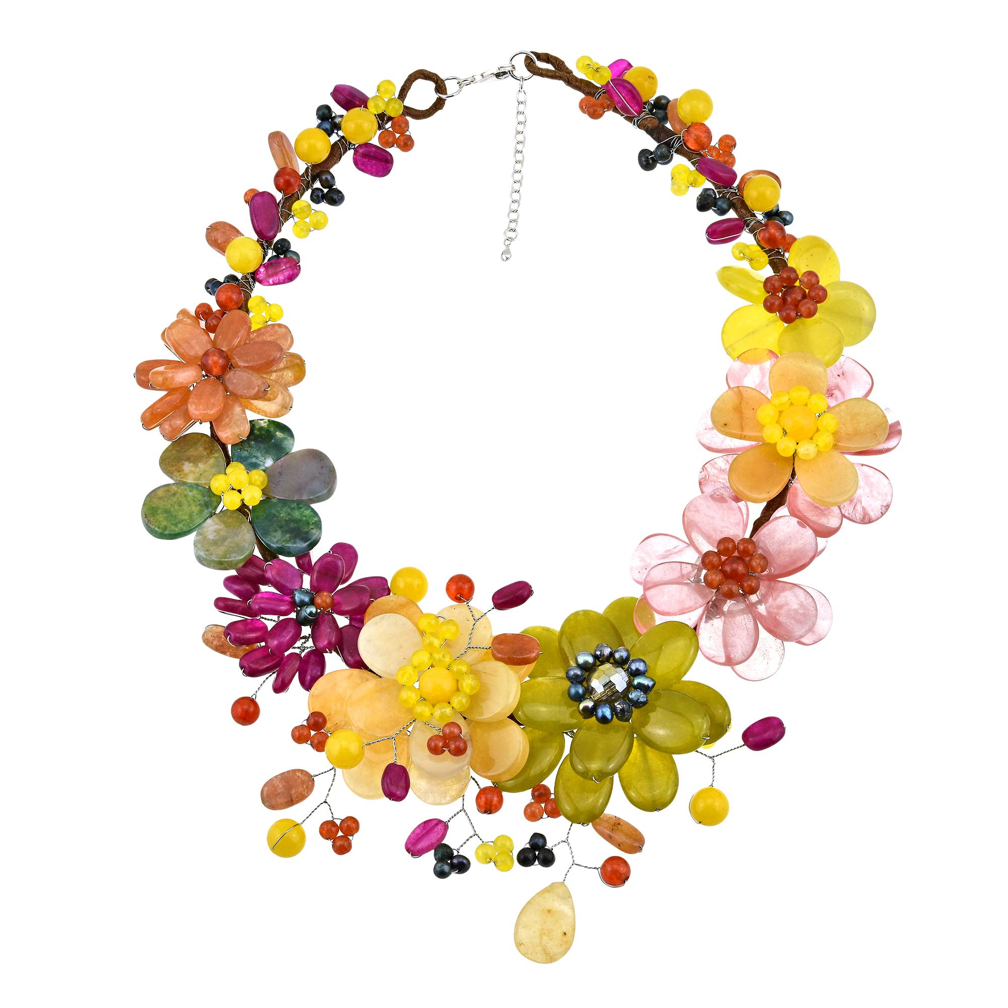 AeraVida Vibrant Bouquet of Multi Color Natural Stones and Cultured Freshwater Pearls Floral Statement Necklace by AeraVida