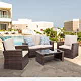 Shintenchi 4-Piece Outdoor Patio Furniture Set, Wicker Rattan Sectional Sofa Couch with Glass Coffee Table | Brown
