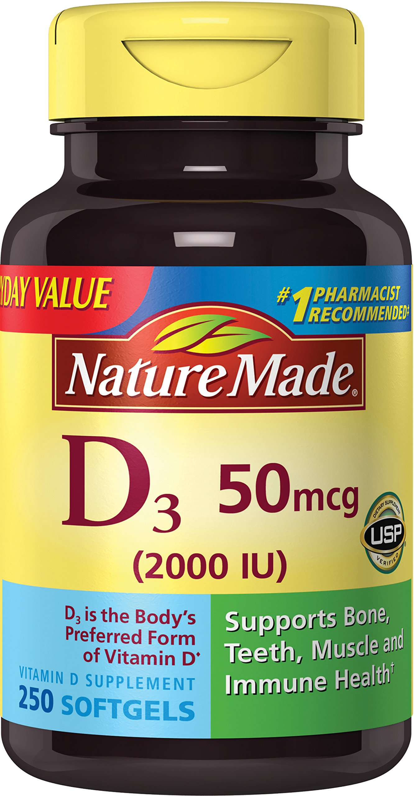 Nature Made Vitamin D3 2000 IU Softgels, 250 Ct by Nature Made (Image #1)