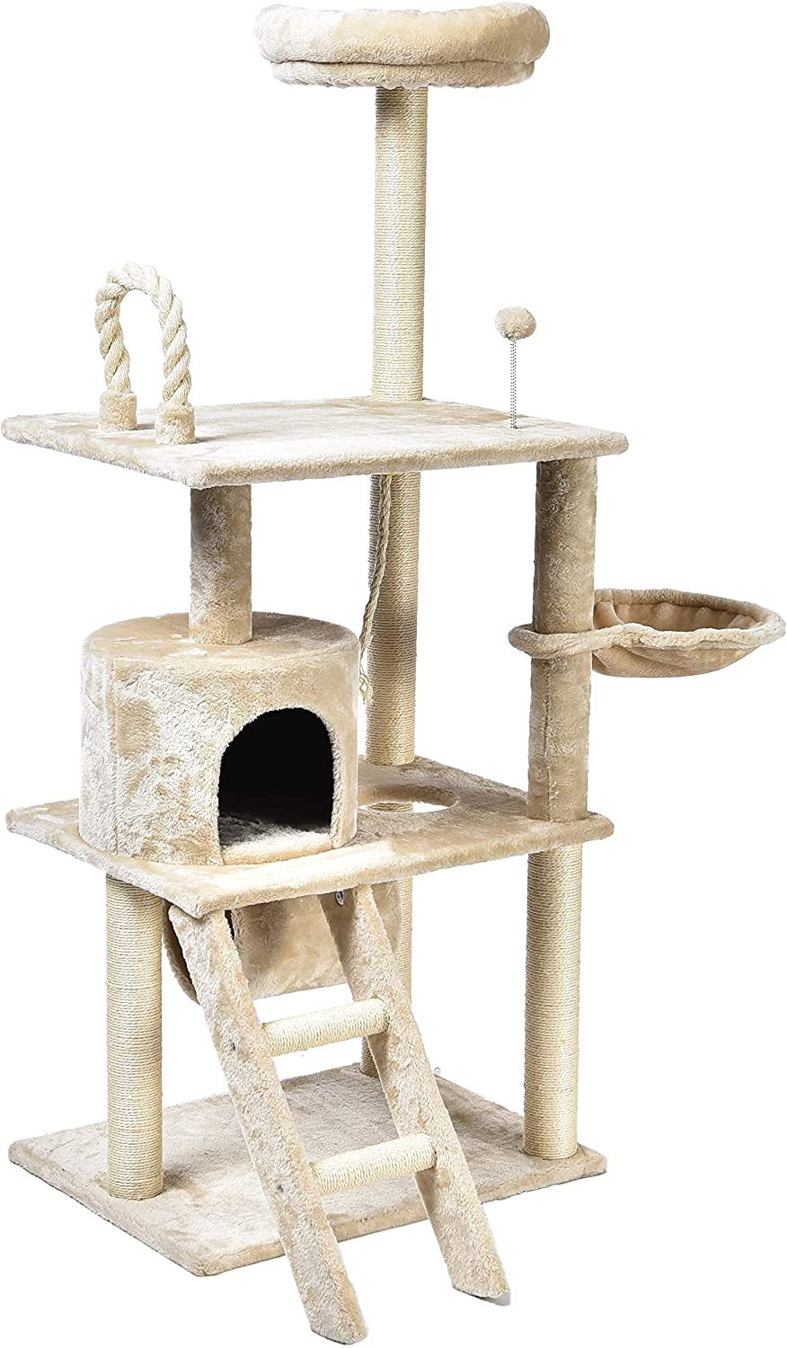 Basics Multi-Level Cat Tree Condo With Tunnel And Platform - 24 x 60 x 19 Inches, Beige : Pet Supplies
