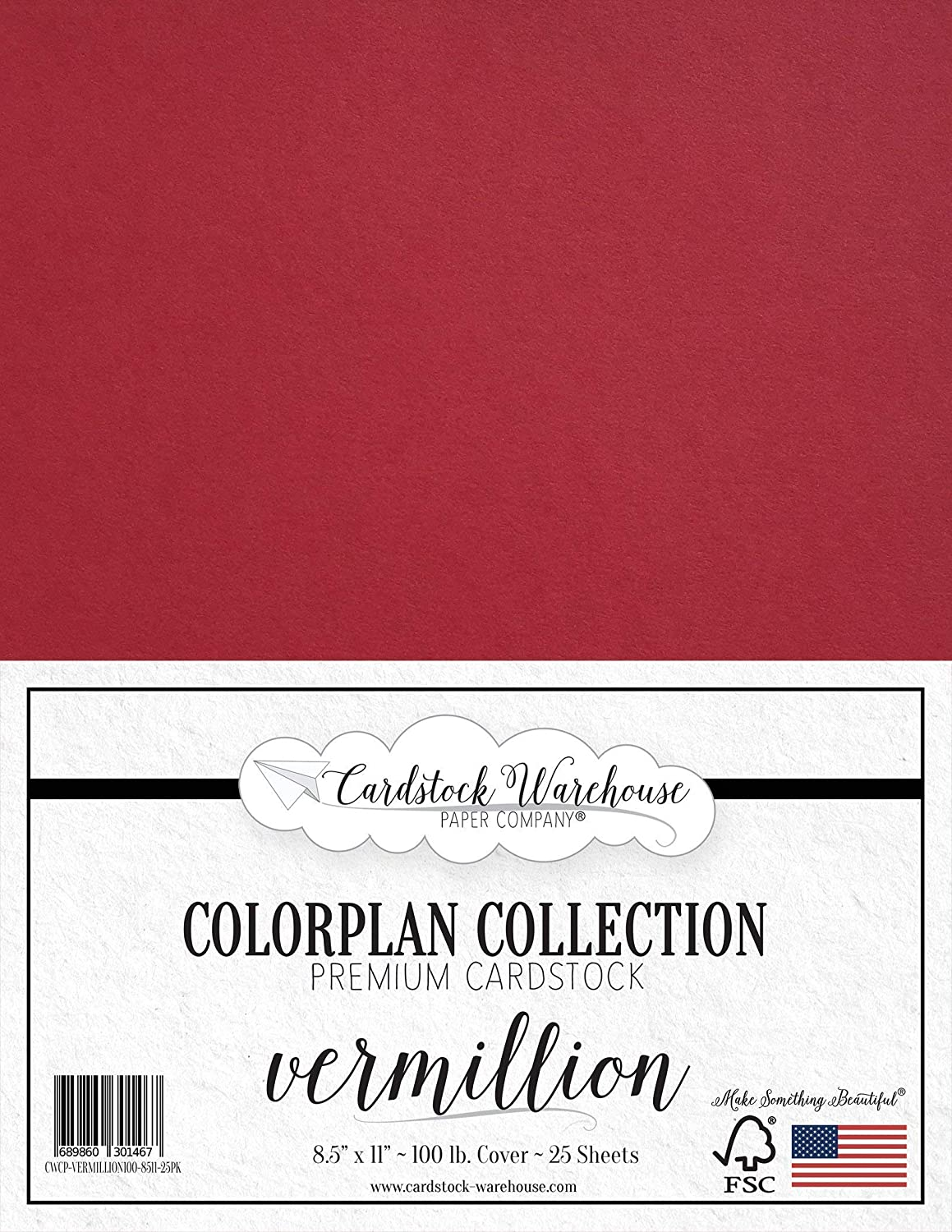 25 Sheets from Cardstock Warehouse 8.5 x 11 inch Premium 100 lb Scarlet RED Cardstock Paper Cover