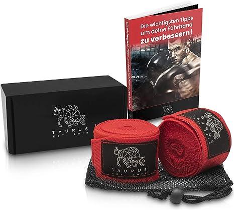 Vendas de Boxeo Incluye Libro electr/ónico y Bolsa de lavander/ía Vendaje de Mano /óptimo para tu Entrenamiento Vendaje de Boxeo de 4 m T/ΛURUS Vendaje de Boxeo TğURUS