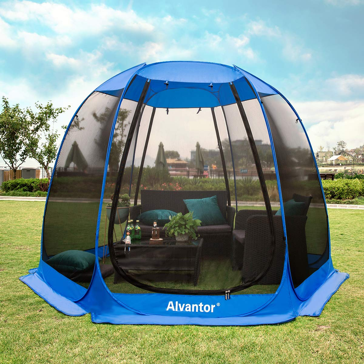 Alvantor Screen House Room Camping Tent Outdoor Canopy Dining Gazebo Pop Up Sun Shade Hexagon Shelter Mesh Walls Not Waterproof 10'x10'x7' Patent by Alvantor