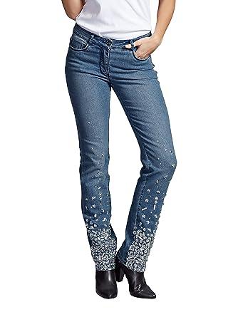 b857a07f24cd Laura Kent Damen Jeans Laura Slim mit Strasssteinen